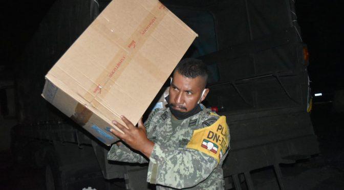 Ejército Mexicano recepciona insumos médicos para la ciudad de Apatzingán, Michoacán